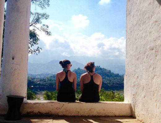 Two girls admiring a view in Luang Prabang