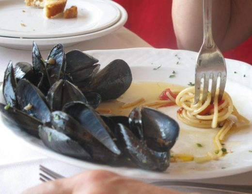 Close up of Italian mussels and pasta