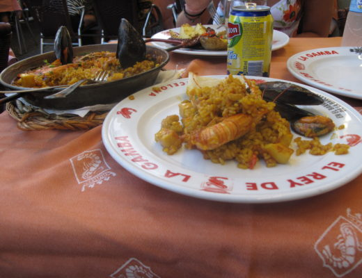 Paella on a plate in Spain
