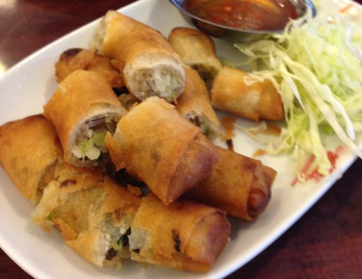 Spring rolls on plate in Thailand