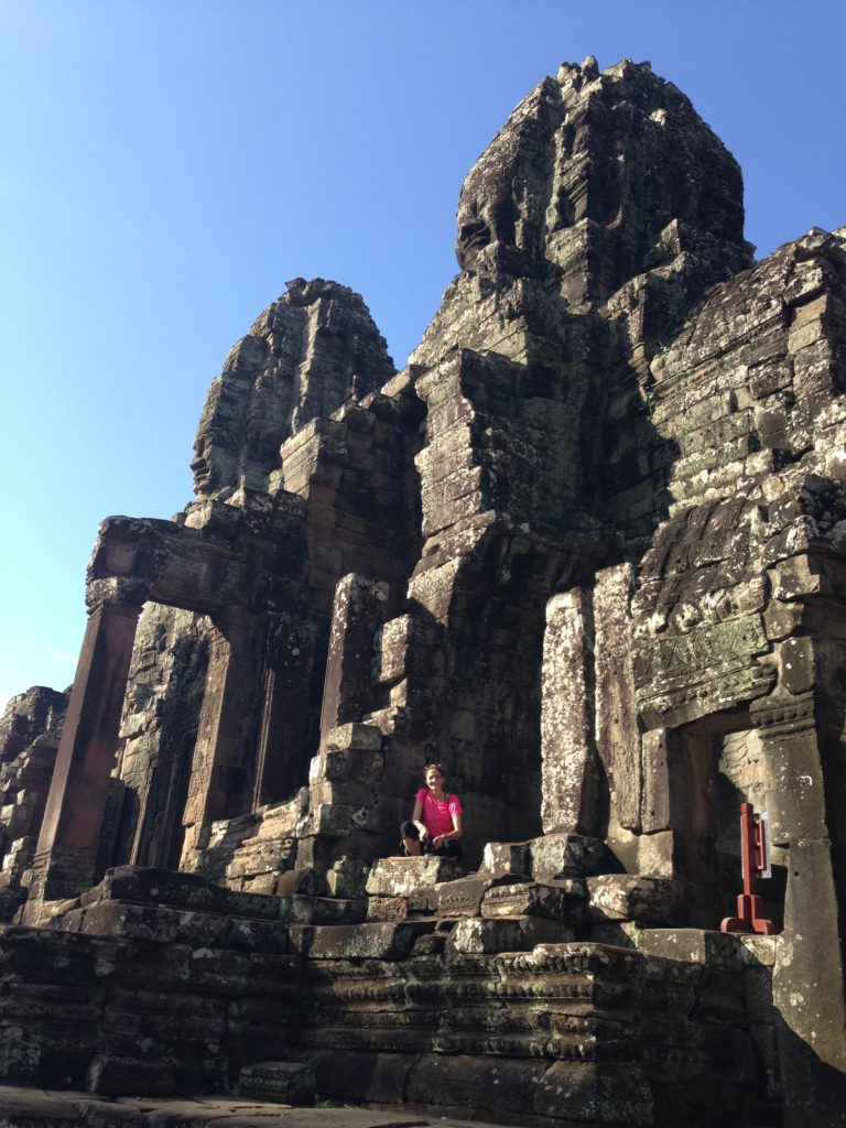 Girl at Angkor Wat temples in Cambodia