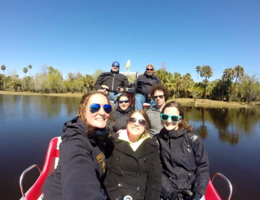 Family on airboat in Florida