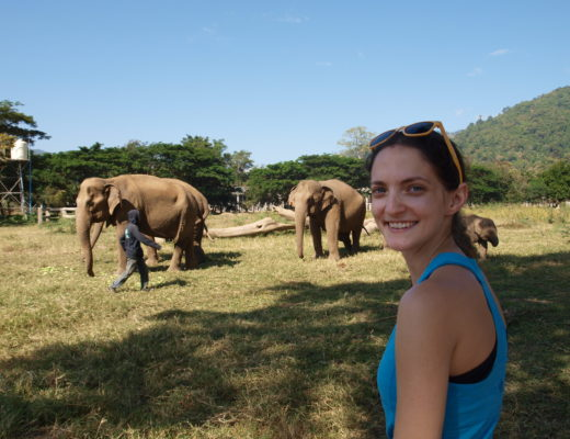 Girl at Elephant Nature Park in Chiang Mai, Thailand