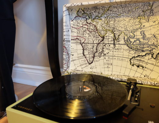 Travel themed record player