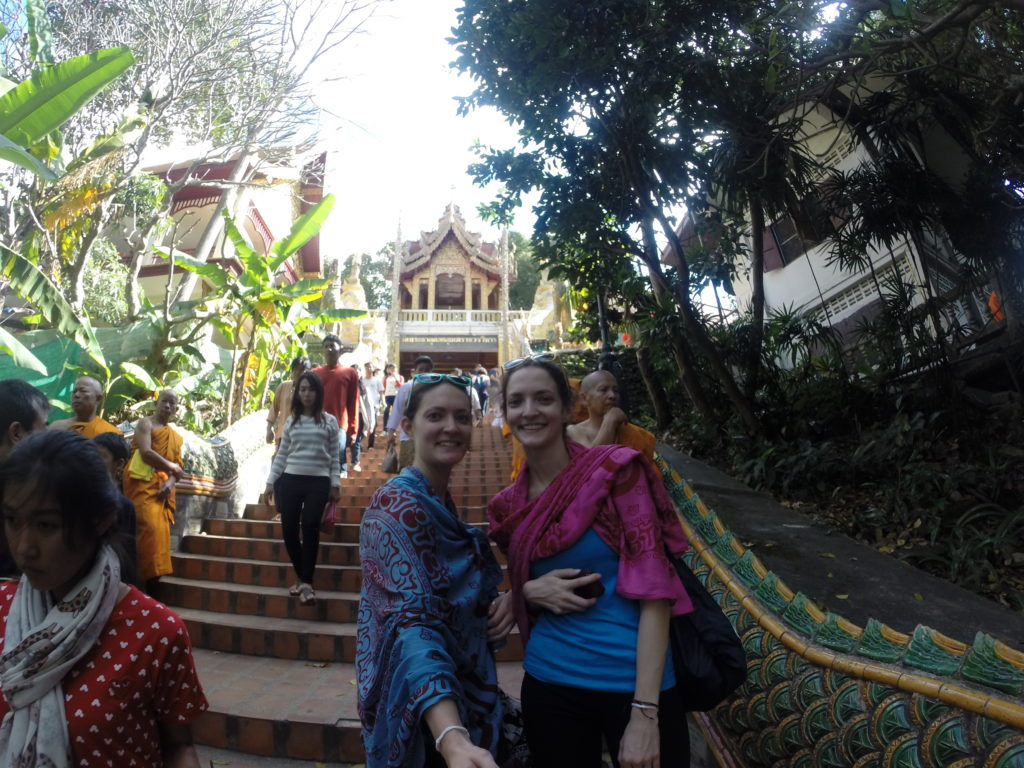 A Southeast Asia Travel Guide. Photo of 2 girls at temple in Chiang Mai.