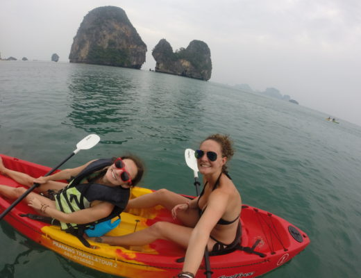 Cover photo for Southeast Asia Travel Guide showing two girls in kayaks in Thailand