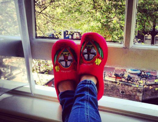 Clog slippers on windowsill in Amsterdam