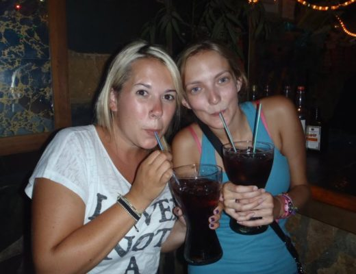 Drinking giant drinks in Madrid bar