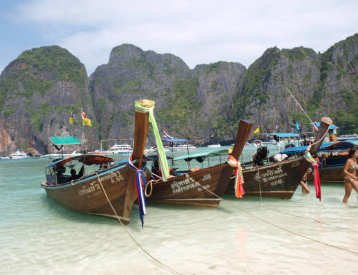 Long boats on beach in Koh Phi Phi