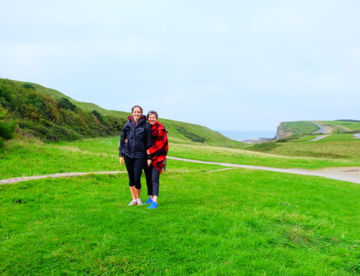 Two ladies on Wales Coastal Path in Southern Wales