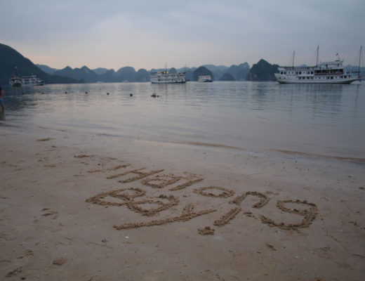 Halong Bay written in the sand