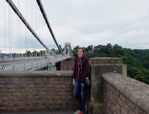 Girl on suspension bridge in Bristol, Wales