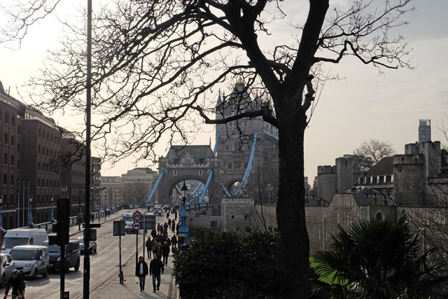Looking back at the Tower Bridge