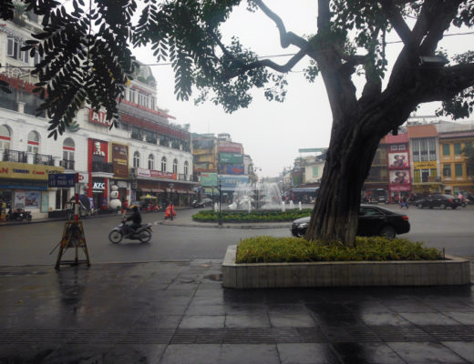 Hanoi, Vietnam city centre on a rainy day