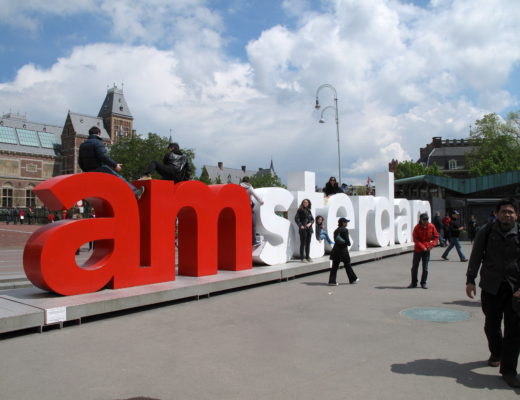 Large Amsterdam sign in Amsterdam, Holland