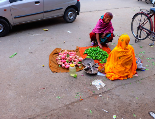 Indian ladies on the street in Jaipur selling food at the market