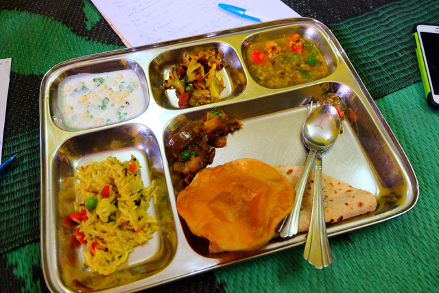 Our meal at a cooking lesson in Orchha, India on a metal platter