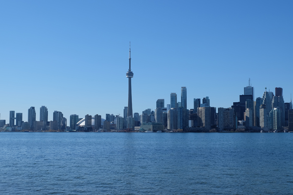 The Toronto, Canada skyline taken from Lake Ontario. Make sure to shop local small businesses right now!
