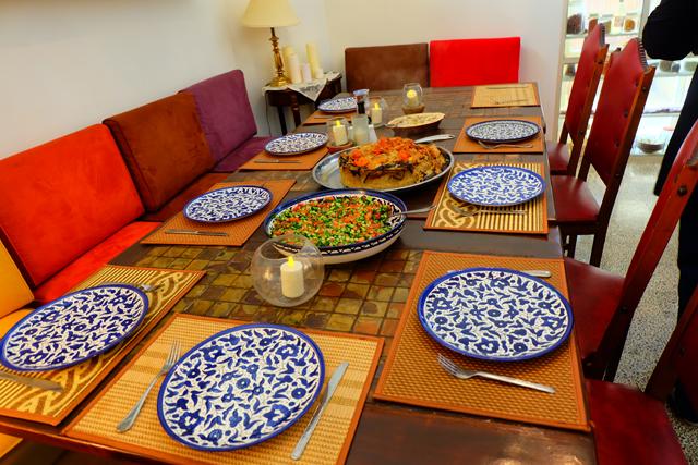 A set table at Beit Sitti in Jordan