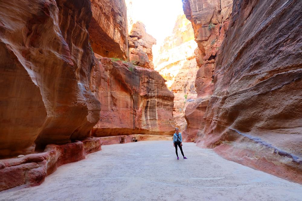 Lauren walking the path to Petra in Jordan