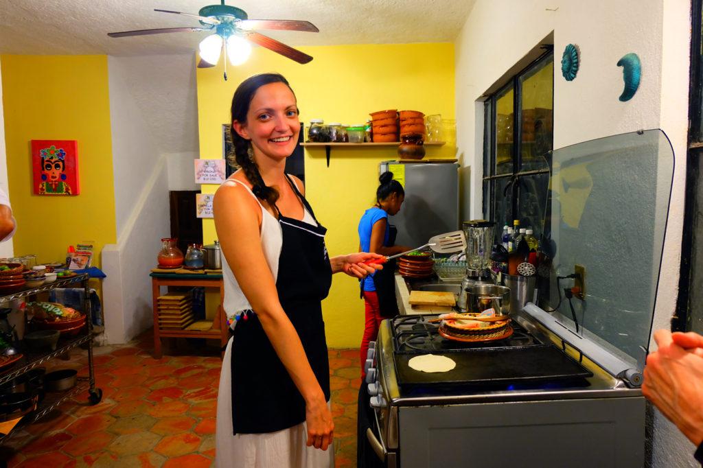 Lauren cooking tortillas in My Mexican Kitchen in Mexico