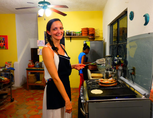 Lauren cooking tortillas in My Mexican Kitchen in Mexico