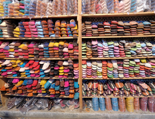 A line-up of leather shoes in a medina on my Morocco trip