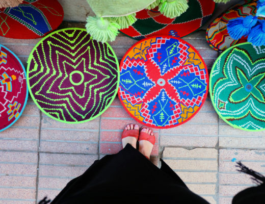 Looking down at colourful baskets on the ground on a Morocco vacation