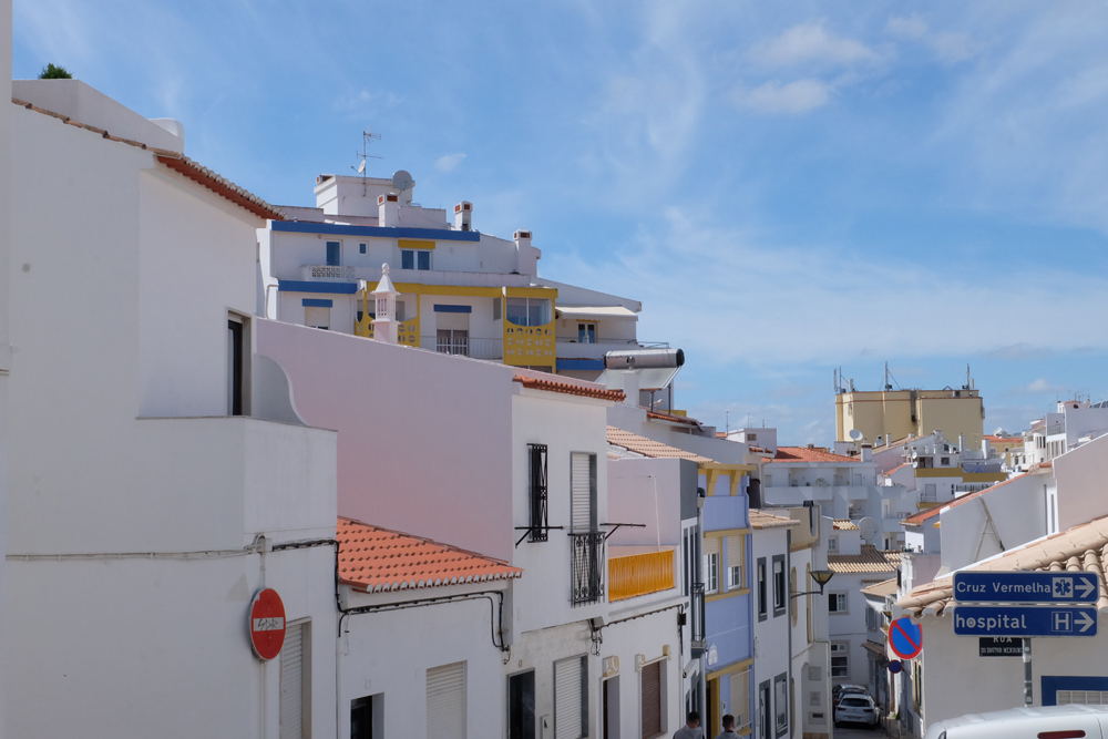 The beautiful white buildings in the town of Lagos, Portugal