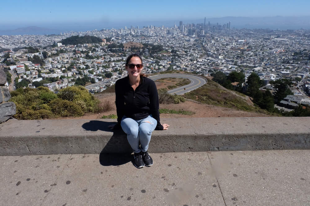 Girl at lookout that overlooks the city of San Francisco.
