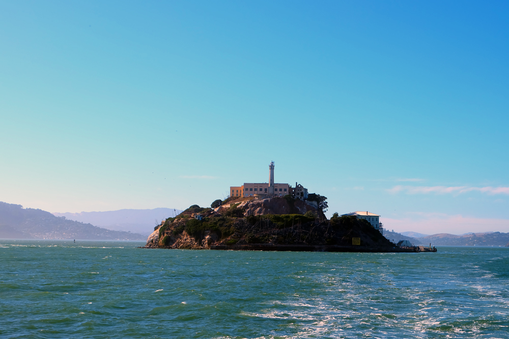 Alcatraz pictured from the water while on an Alcatraz excursion