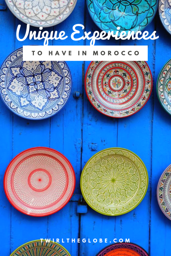 A pinterest pin for unique experiences to have on a Morocco trip