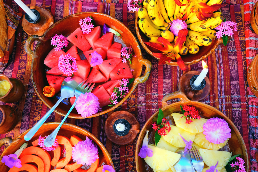 The gorgeous, and colourful breakfast spread at Lush, in Lake Atitlan