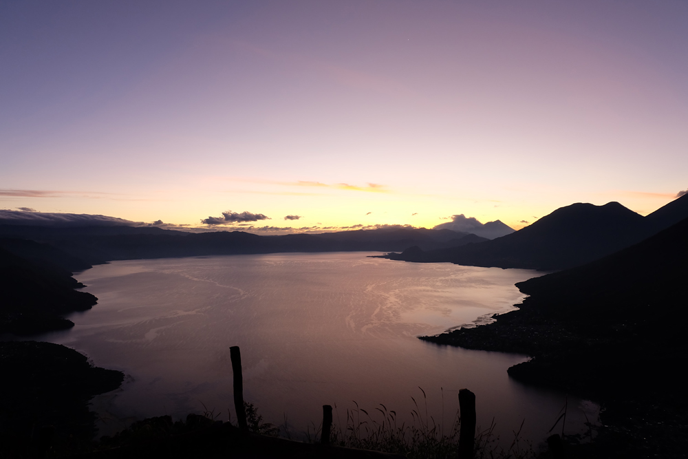 A sunrise over Lake Atitlan on a hike up Indian Nose