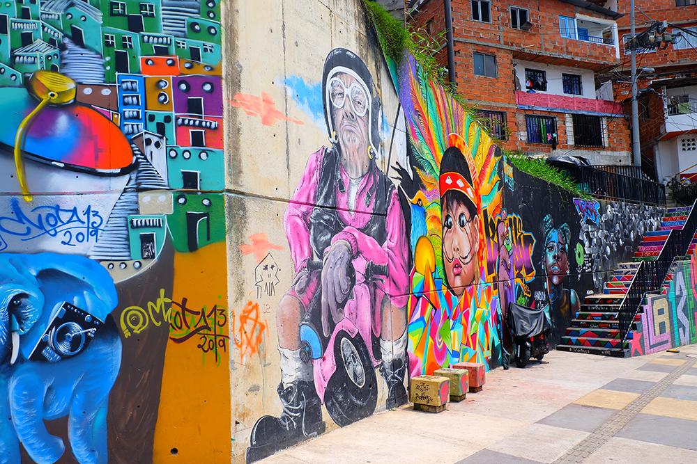 Colourful street art in Comuna 13 in Medellin, Colombia.