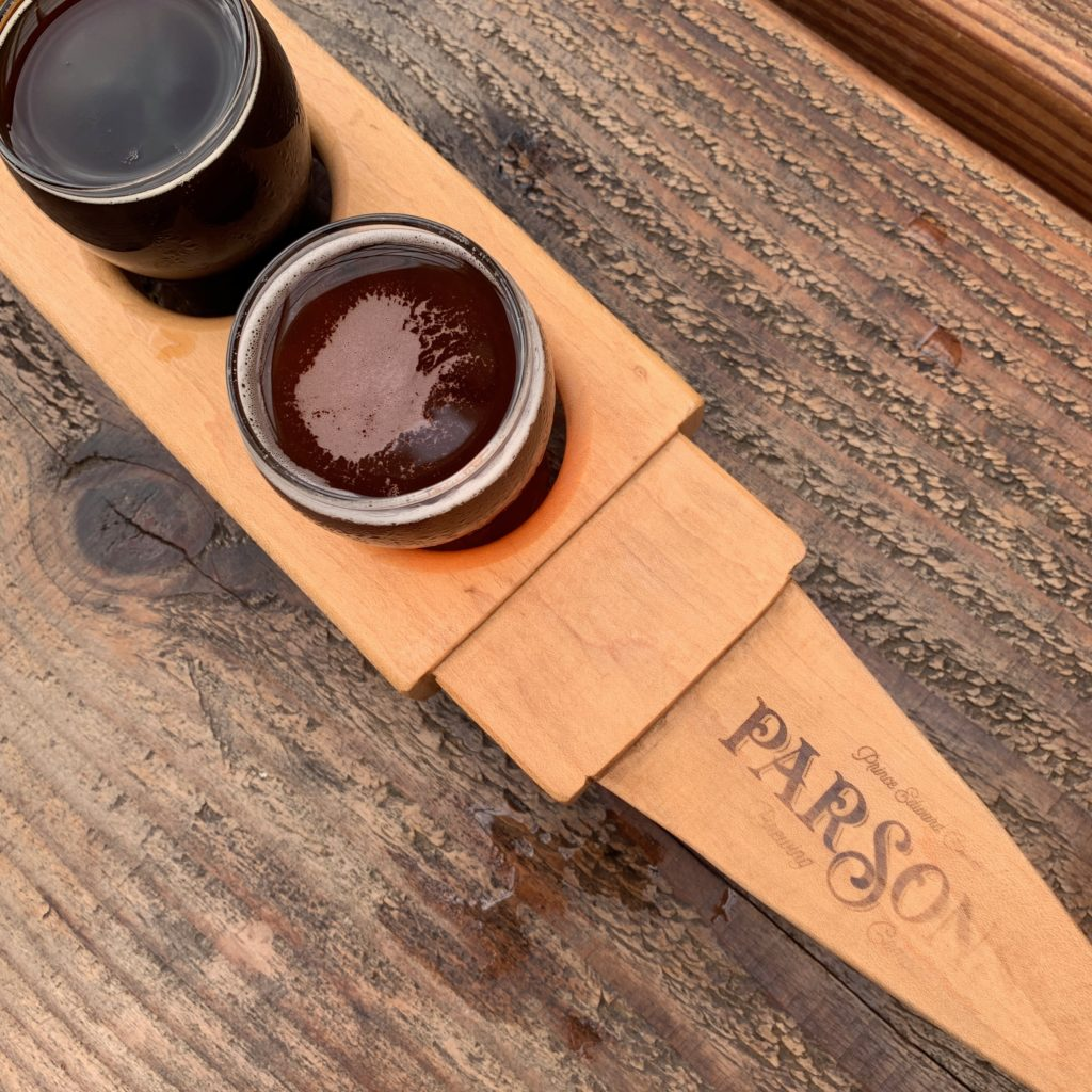 A flight of beer at Parson's Brewery on a Prince Edward County vacation