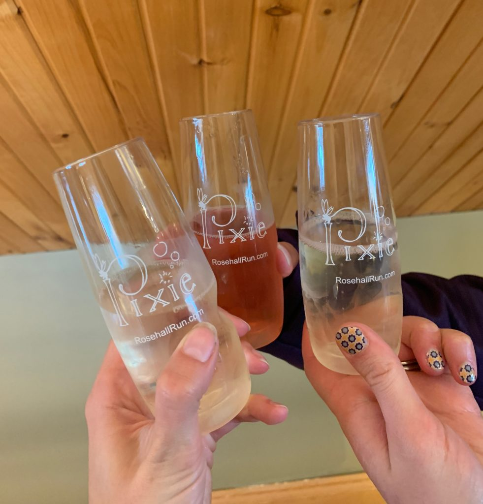 Champagne glasses at Rosehall Run in Prince Edward County, Ontario.