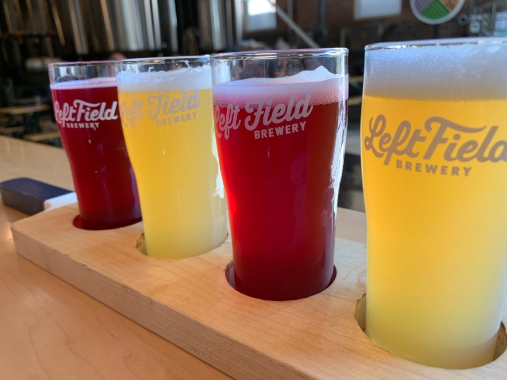 A line-up of beers on a flight in Toronto at Left Field Brewery.