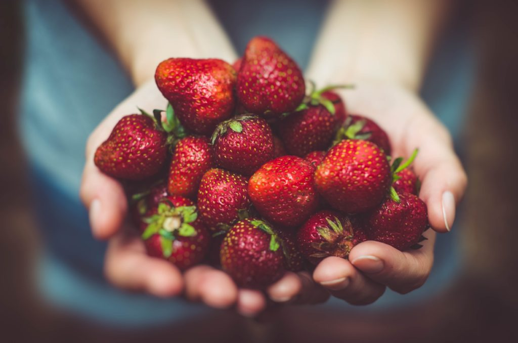 A handful of strawberries.