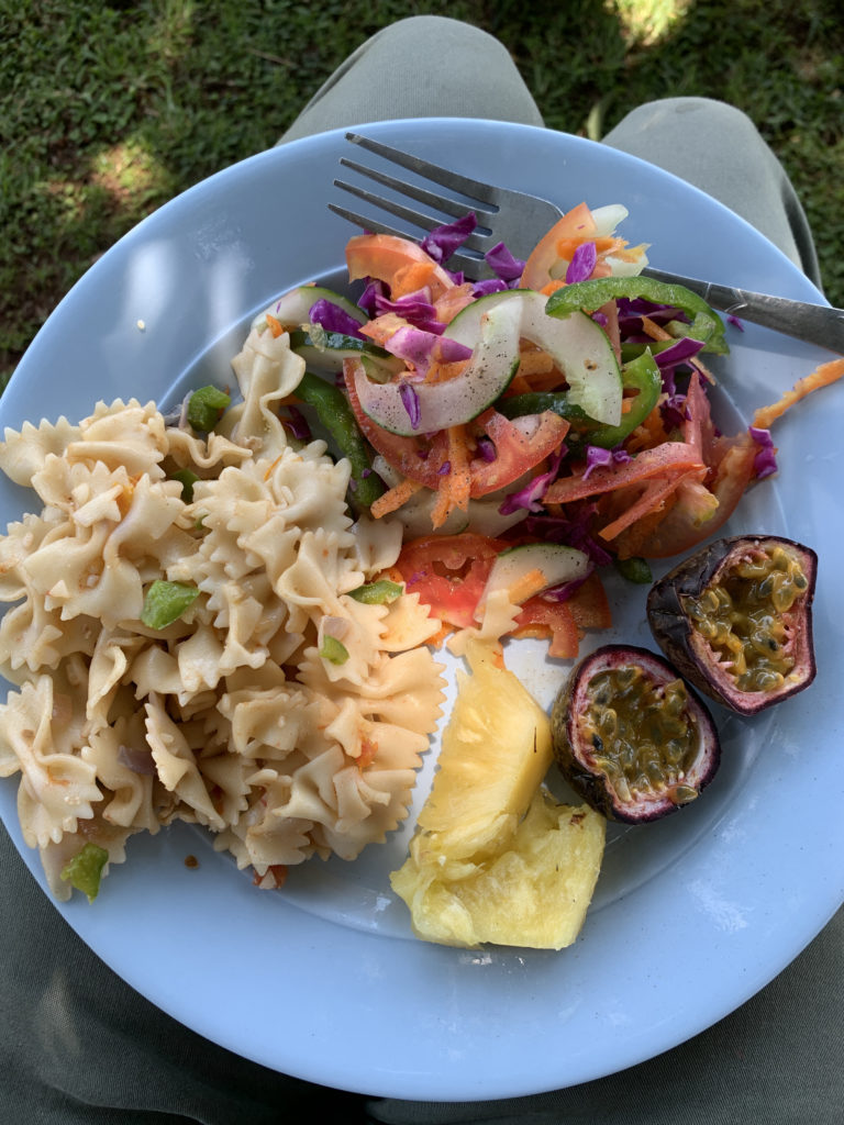 Plate of food served on an overland camping trip in East Africa