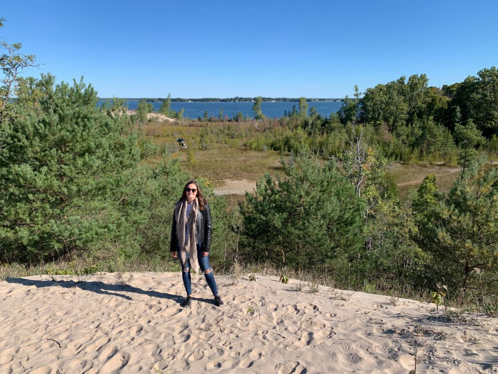 Me at Sandbanks Provincial Park on a hike in Prince Edward County