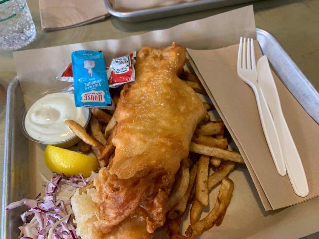 Fish and chips at a local restaurant on our Prince Edward County vacation