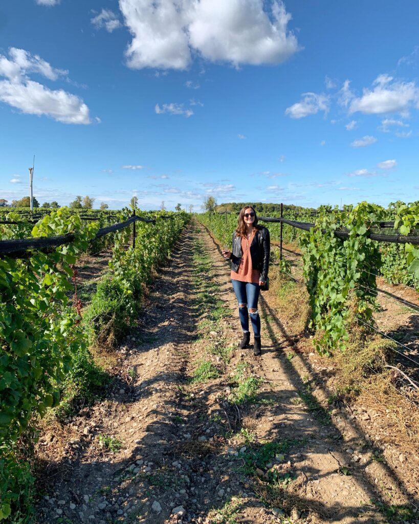 Me in a vineyard on our Prince Edward County vacation