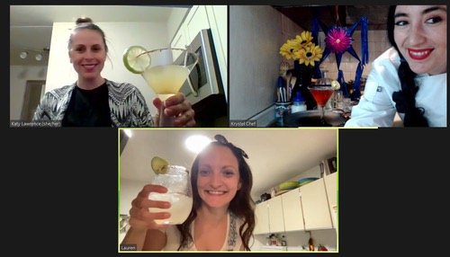 Online experiences through Airbnb - girls cheersing on zoom